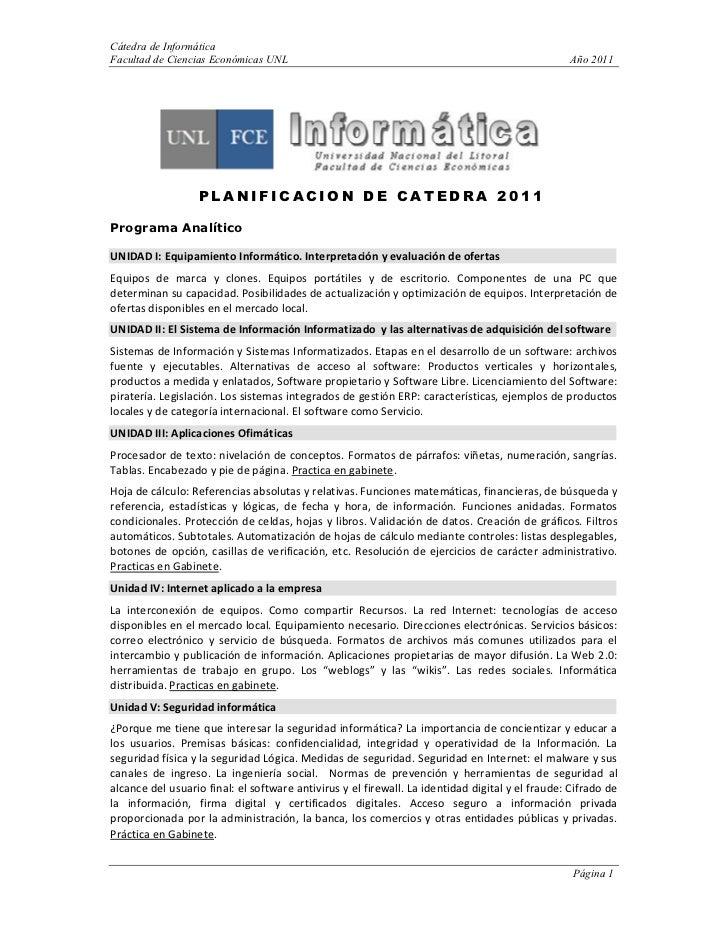 Cátedra de InformáticaFacultad de Ciencias Económicas U L                                                              Año...