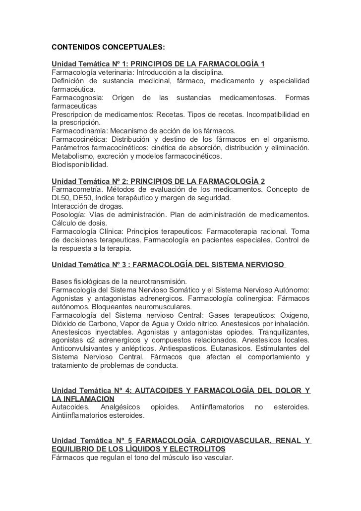 CONTENIDOS CONCEPTUALES:Unidad Temática Nº 1: PRINCIPIOS DE LA FARMACOLOGÍA 1Farmacología veterinaria: Introducción a la d...
