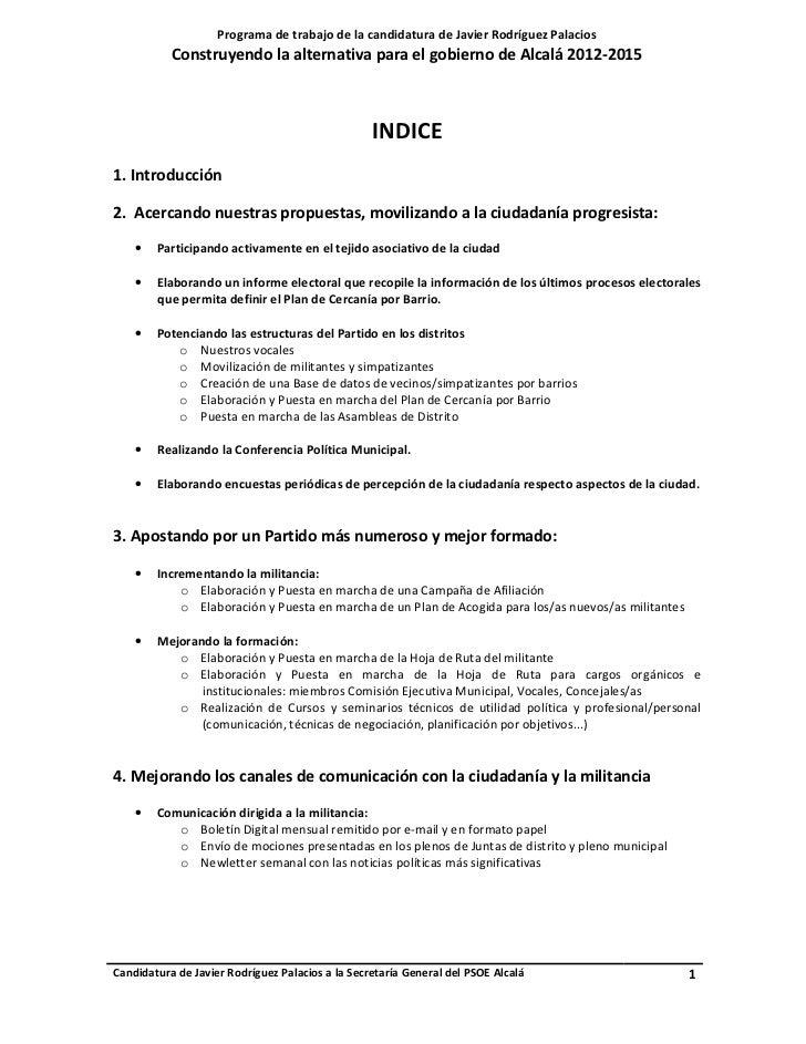 Programa de trabajo de la candidatura de Javier Rodríguez Palacios           Construyendo la alternativa para el gobierno ...