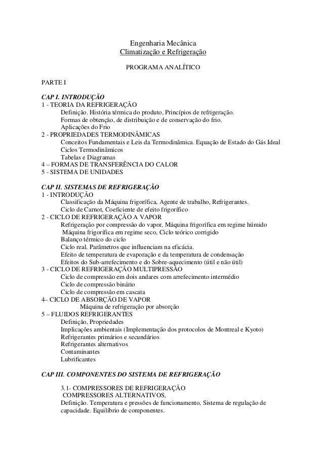 Engenharia Mecânica                            Climatização e Refrigeração                              PROGRAMA ANALÍTICO...