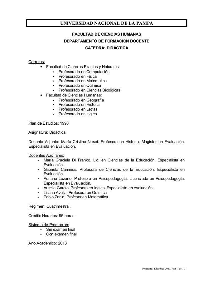 UNIVERSIDAD NACIONAL DE LA PAMPA FACULTAD DE CIENCIAS HUMANASFACULTAD DE CIENCIAS HUMANAS DEPARTAMENTO DE FORMACION DOCENT...