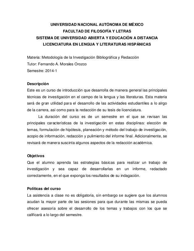 UNIVERSIDAD NACIONAL AUTÓNOMA DE MÉXICO FACULTAD DE FILOSOFÍA Y LETRAS SISTEMA DE UNIVERSIDAD ABIERTA Y EDUCACIÓN A DISTAN...