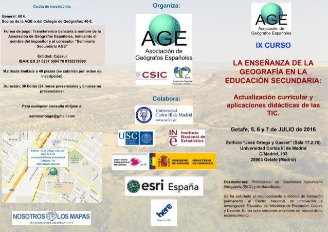 IX Curso sobre la enseñanza de la Geografía en la Educación Secundaria