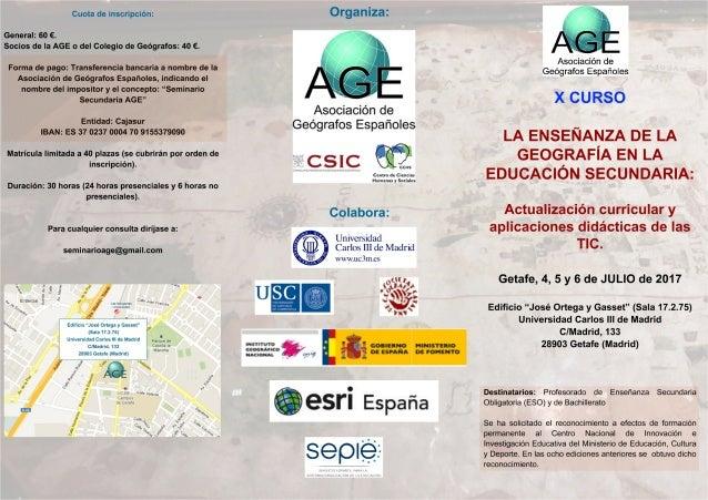 X Curso sobre la enseñanza de la Geografía en la Educación Secundaria
