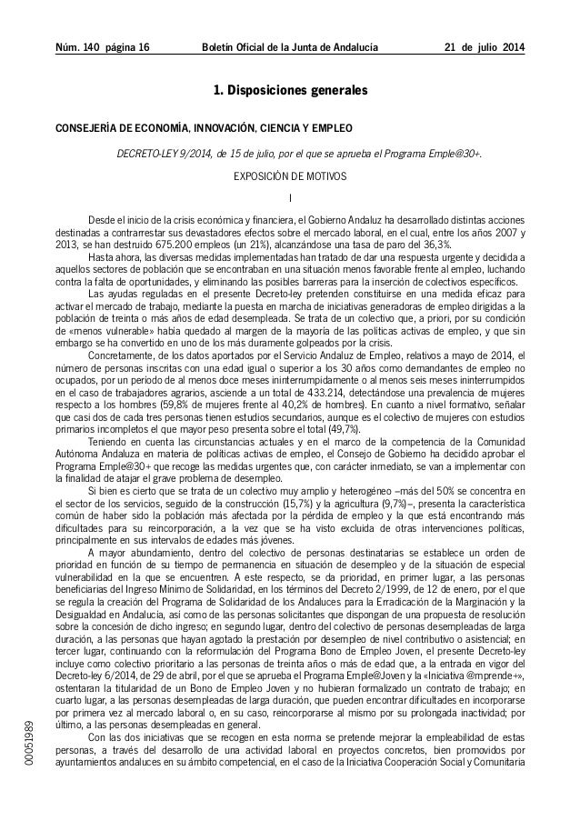 Núm. 140 página 16 Boletín Oficial de la Junta de Andalucía 21 de julio 2014 1. Disposiciones generales Consejería de ...