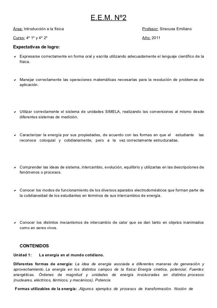 E.E.M. Nº2Área: Introducción a la física                                          Profesor: Siracusa EmilianoCurso: 4º 1º ...