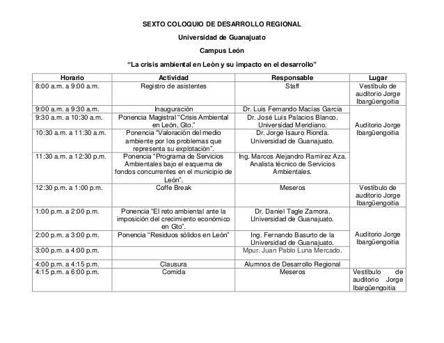 """SEXTO COLOQUIO DE DESARROLLO REGIONAL Universidad de Guanajuato Campus León """"La crisis ambiental en León y su impacto en e..."""