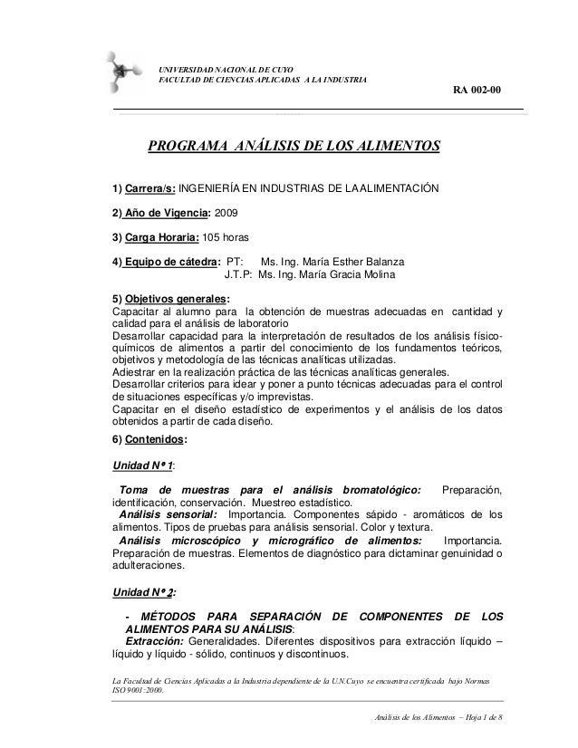 UNIVERSIDAD NACIONAL DE CUYO FACULTAD DE CIENCIAS APLICADAS A LA INDUSTRIA  RA 002-00  PROGRAMA ANÁLISIS DE LOS ALIMENTOS ...