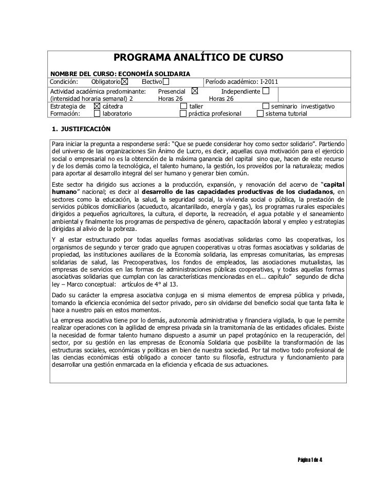 PROGRAMA ANALÍTICO DE CURSONOMBRE DEL CURSO: ECONOMÍA SOLIDARIACondición: Obligatorio Electivo                            ...