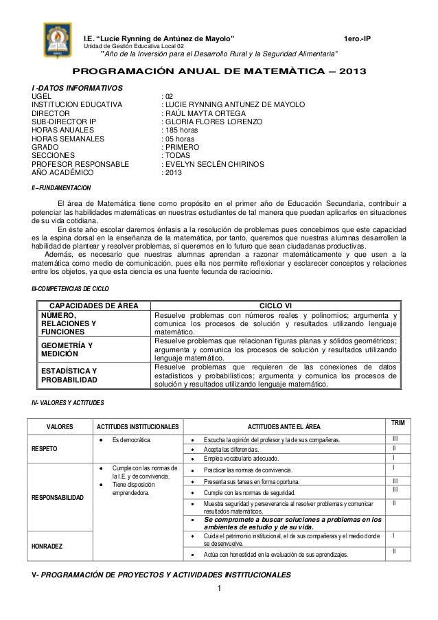 """I.E. """"Lucie Rynning de Antúnez de Mayolo"""" 1ero.-IPUnidad de Gestión Educativa Local 02""""Año de la Inversión para el Desarro..."""