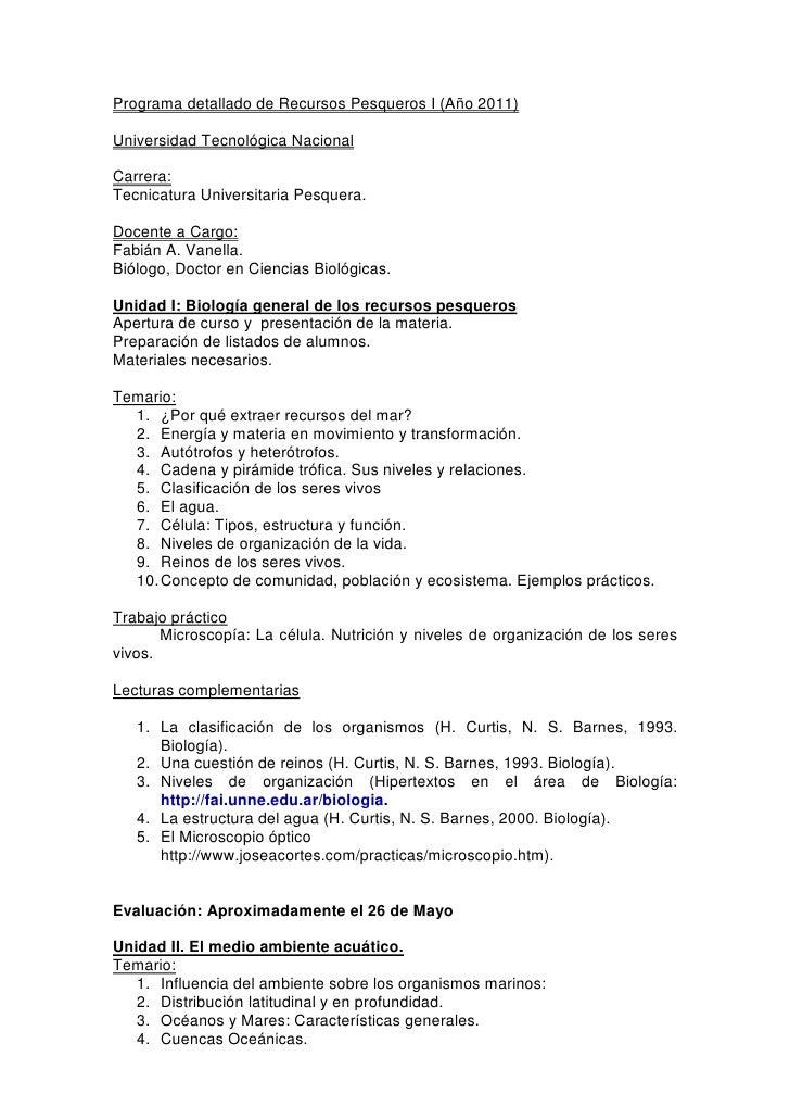 Programa detallado de Recursos Pesqueros I (Año 2011)Universidad Tecnológica NacionalCarrera:Tecnicatura Universitaria Pes...