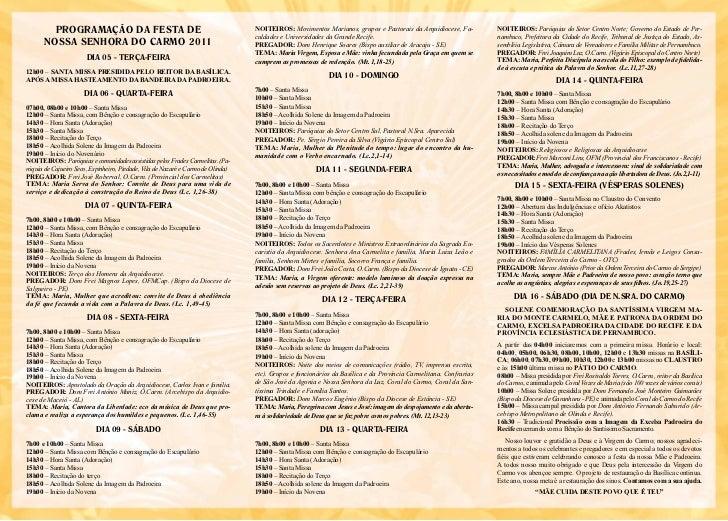 PRogRAmAÇÃo DA fESTA DE                                                  nOitEiROS: Movimentos Marianos, grupos e Pastorai...