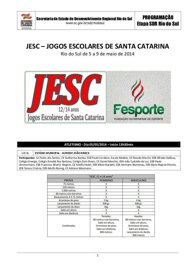 Secretaria de Estado de Desenvolvimento Regional Rio do Sul www.sc.gov.br/sdr/riodosul PROGRAMAÇÃO Etapa SDR Rio do Sul 1 ...