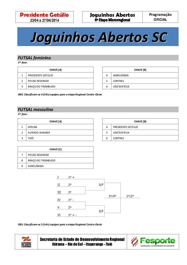 Presidente Getúlio 23/04 a 27/04/2014 Joguinhos Abertos 6ª Etapa Microrregional Programação OFICIAL Secretaria de Estado d...