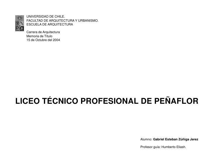 UNIVERSIDAD DE CHILE.  FACULTAD DE ARQUITECTURA Y URBANISMO.  ESCUELA DE ARQUITECTURA  Carrera de Arquitectura  Memoria de...