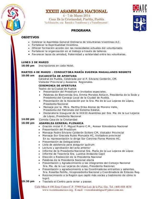 """XXXIII ASAMBLEA NACIONAL 4 - 7 de Marzo 2014 Casa De la Cristiandad, Puebla, Puebla  """"La Educación, una llamada a Transfor..."""