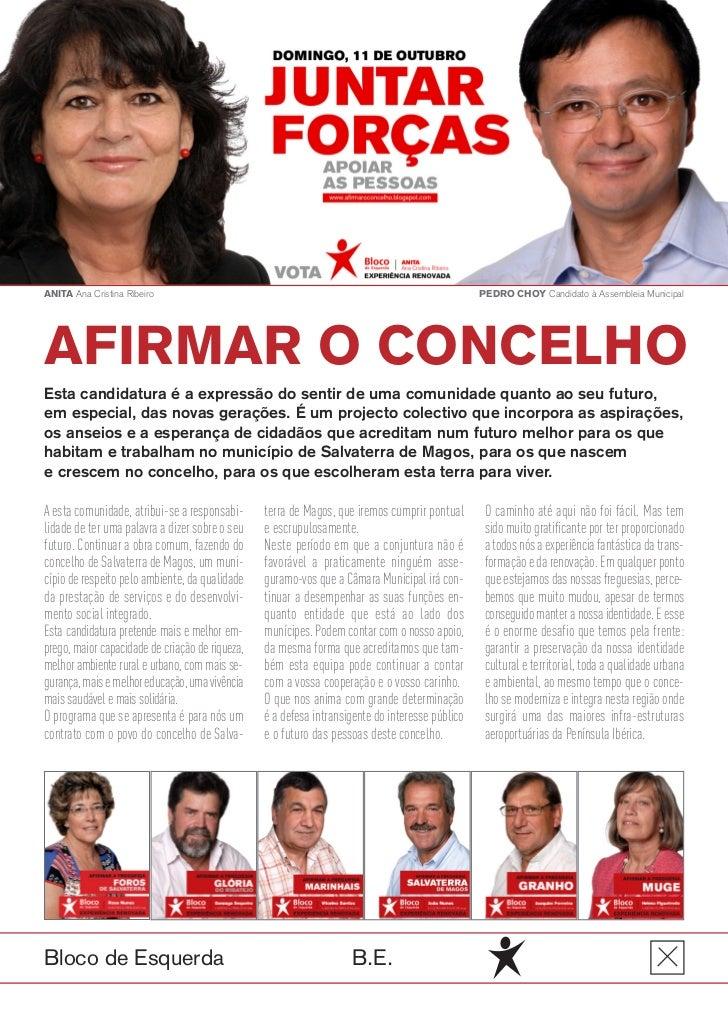 ANITA Ana Cristina Ribeiro                                                                       PEDRO CHOY Candidato à As...