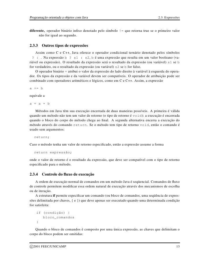 Programação orientada a objetos com Java                                              2.3. Expressões   diferente, operado...