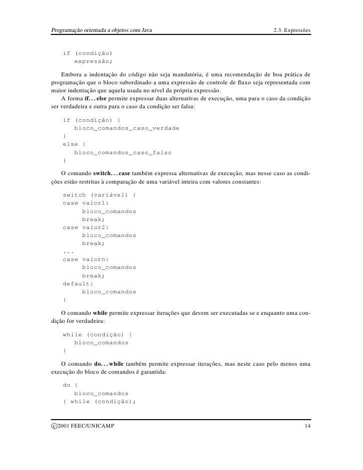 Programação orientada a objetos com Java                                              2.3. Expressões          if (condiçã...