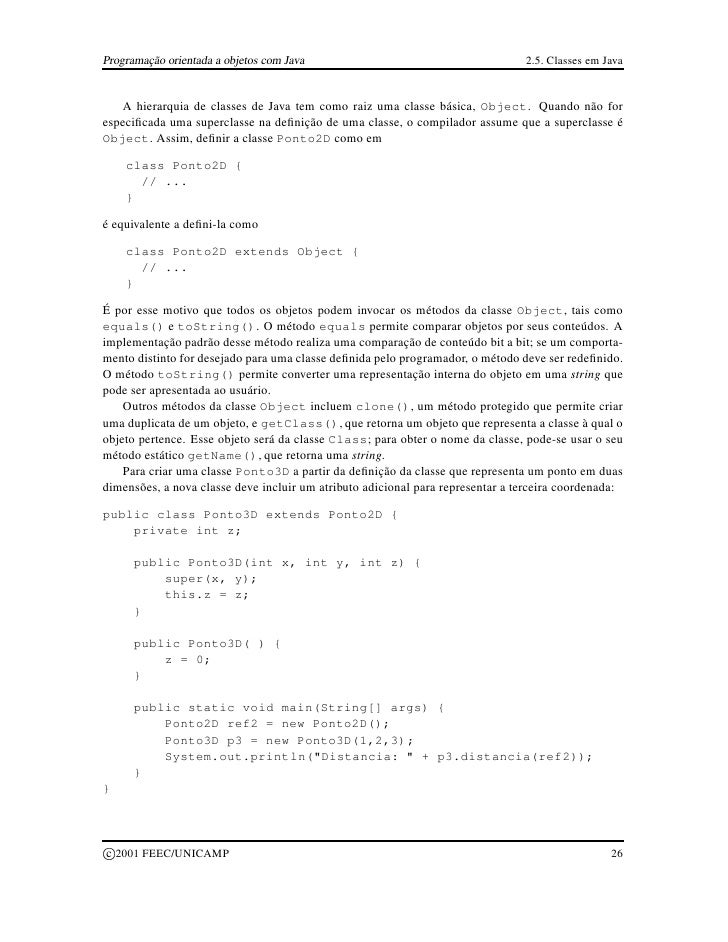 Programação orientada a objetos com Java                                        2.5. Classes em Java      A hierarquia de ...
