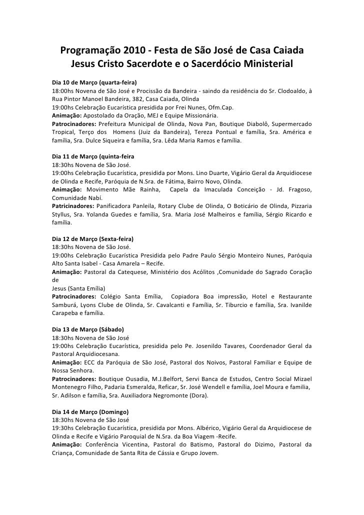Programação 2010 - Festa de São José de Casa Caiada     Jesus Cristo Sacerdote e o Sacerdócio Ministerial Dia 10 de Março ...