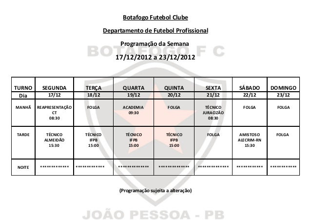 Botafogo Futebol Clube                                       Departamento de Futebol Profissional                         ...