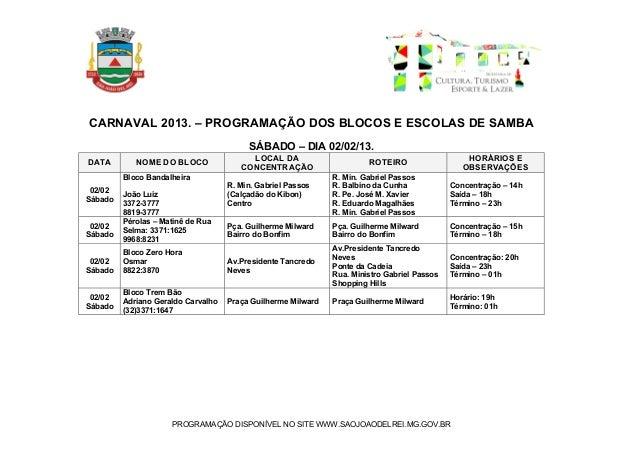 CARNAVAL 2013. – PROGRAMAÇÃO DOS BLOCOS E ESCOLAS DE SAMBA                                         SÁBADO – DIA 02/02/13. ...