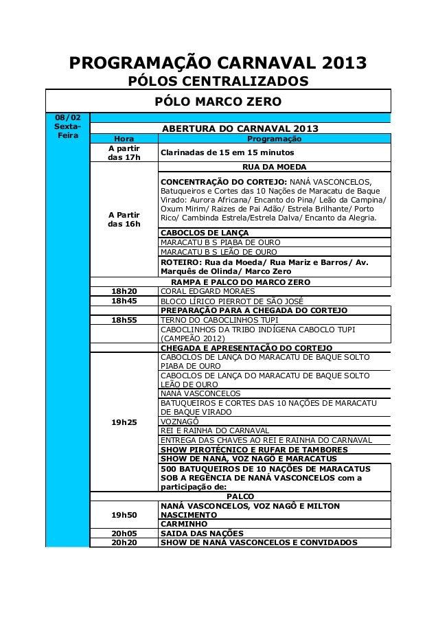 PROGRAMAÇÃO CARNAVAL 2013             PÓLOS CENTRALIZADOS                    PÓLO MARCO ZERO08/02Sexta-              ABERT...