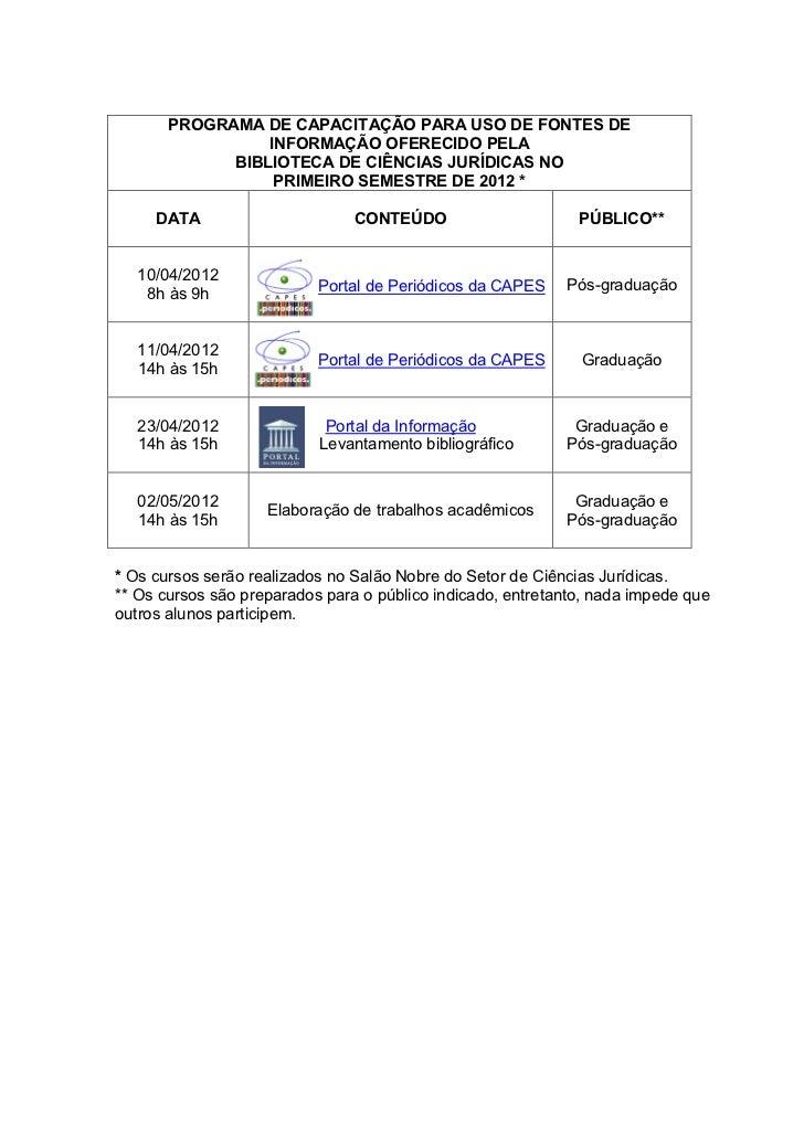 PROGRAMA DE CAPACITAÇÃO PARA USO DE FONTES DE                 INFORMAÇÃO OFERECIDO PELA             BIBLIOTECA DE CIÊNCIAS...