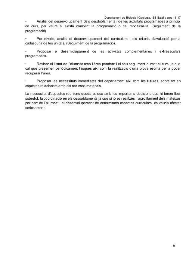 P A G E  * A r Departament de Biologia i Geologia. IES Balàfia curs 16-17 6 • Anàlisi del desenvolupament dels desdoblamen...