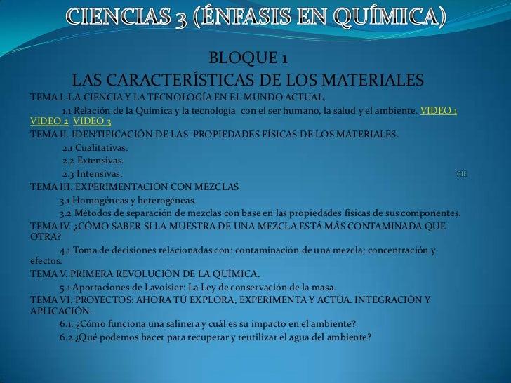 BLOQUE 1         LAS CARACTERÍSTICAS DE LOS MATERIALESTEMA I. LA CIENCIA Y LA TECNOLOGÍA EN EL MUNDO ACTUAL.         1.1 R...