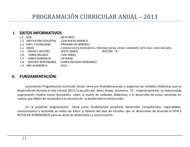 PROGRAMACIÓN CURRICULAR ANUAL – 2013 I.  DATOS INFORMATIVOS 1.1. UGEL 1.2. INSTITUCIÓN EDUCATIVA 1.3. NIVEL Y MODALIDAD 1....