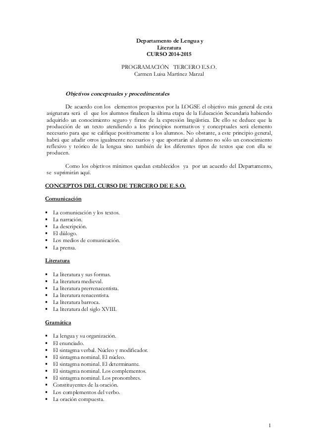 Departamento de Lengua y Literatura CURSO 2014-2015 PROGRAMACIÓN TERCERO E.S.O. Carmen Luisa Martínez Marzal Objetivos con...