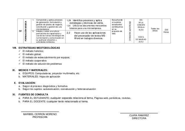 IV FORMACIÓNBÁSICA 1. Comprende y aplica procesos de generación, formulación y gestión de planes de negocio, constitución ...