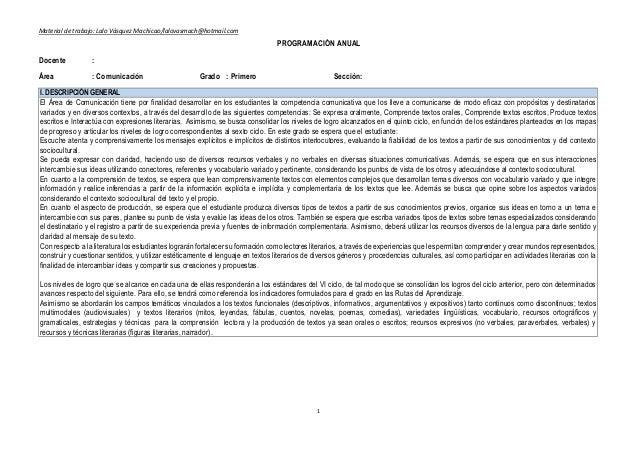 Material de trabajo: Lalo Vásquez Machicao/lalovasmach@hotmail.com 1 PROGRAMACIÓN ANUAL Docente : Área : Comunicación Grad...
