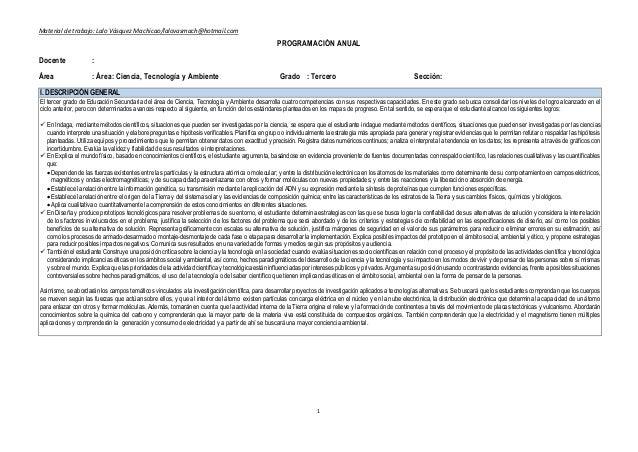 Material de trabajo: Lalo Vásquez Machicao/lalovasmach@hotmail.com 1 PROGRAMACIÓN ANUAL Docente : Área : Área: Ciencia, Te...