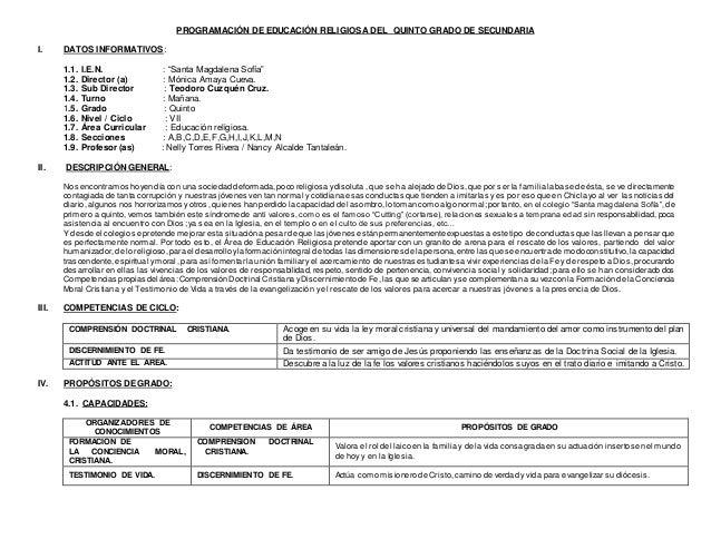 "PROGRAMACIÓN DE EDUCACIÓN RELIGIOSA DEL QUINTO GRADO DE SECUNDARIA I. DATOS INFORMATIVOS: 1.1. I.E.N. : ""Santa Magdalena S..."