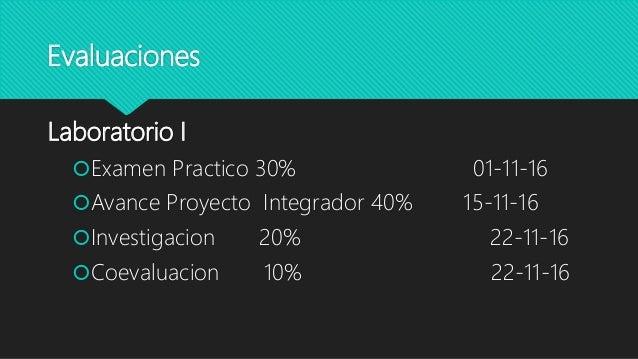 Evaluaciones Laboratorio I Examen Practico 30% 01-11-16 Avance Proyecto Integrador 40% 15-11-16 Investigacion 20% 22-11...