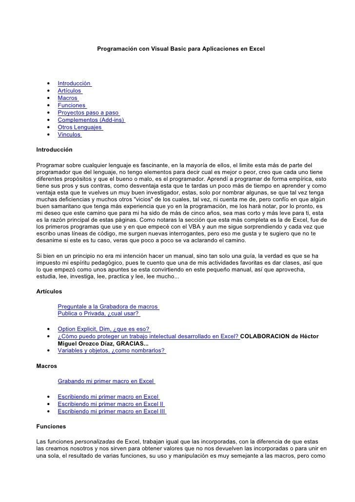 Programación con Visual Basic para Aplicaciones en Excel    •    Introducción    •    Artículos    •    Macros    •    Fun...