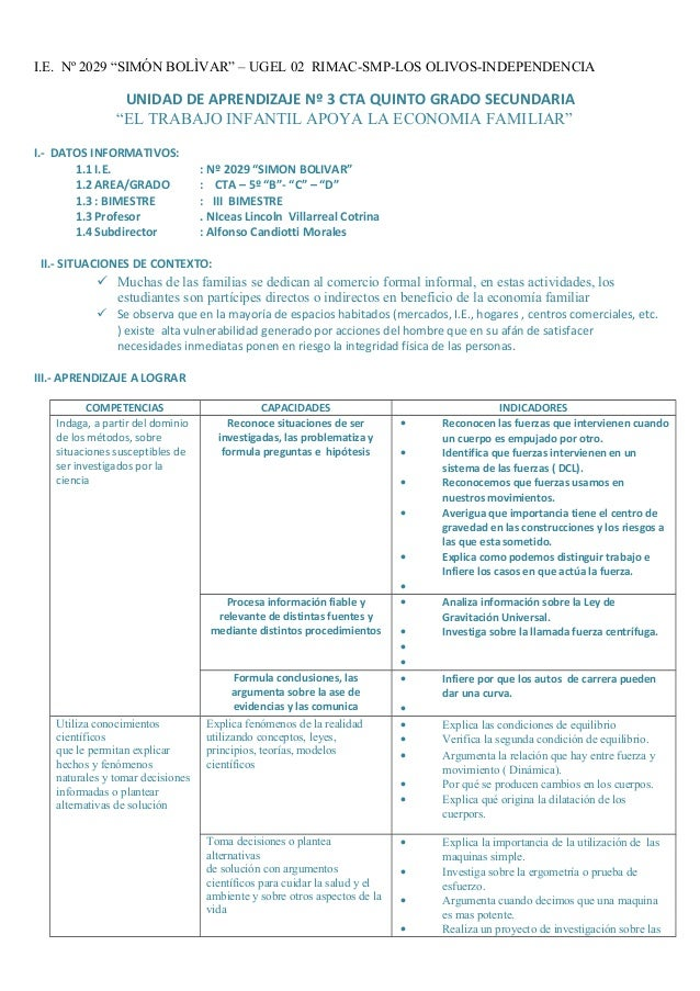 """I.E. Nº 2029 """"SIMÓN BOLÌVAR"""" – UGEL 02 RIMAC-SMP-LOS OLIVOS-INDEPENDENCIA UNIDAD DE APRENDIZAJE Nº 3 CTA QUINTO GRADO SECU..."""