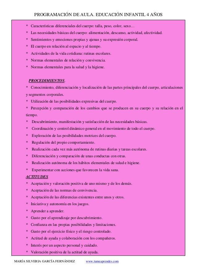 PROGRAMACIÓN DE AULA. EDUCACIÓN INFANTIL 4 AÑOS MARÍA SILVERIA GARCÍA FERNÁNDEZ www.tumeaprendes.com * Características dif...
