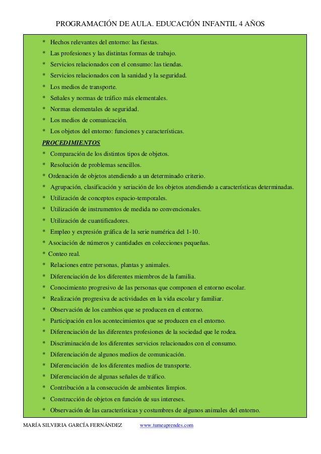 PROGRAMACIÓN DE AULA. EDUCACIÓN INFANTIL 4 AÑOS MARÍA SILVERIA GARCÍA FERNÁNDEZ www.tumeaprendes.com * Hechos relevantes d...
