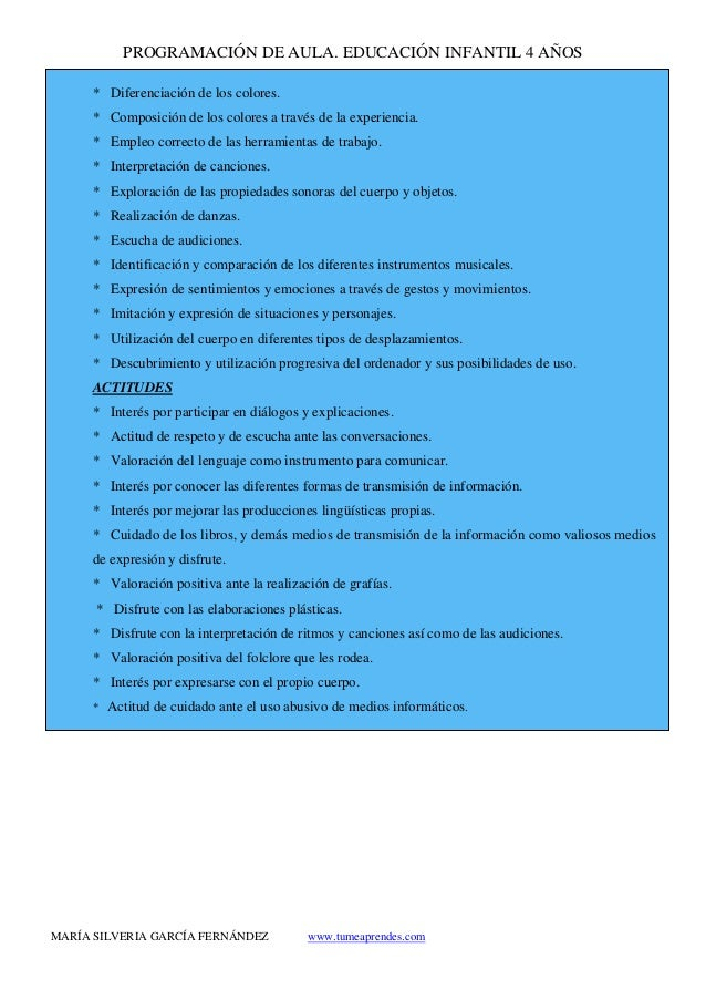 PROGRAMACIÓN DE AULA. EDUCACIÓN INFANTIL 4 AÑOS MARÍA SILVERIA GARCÍA FERNÁNDEZ www.tumeaprendes.com * Diferenciación de l...