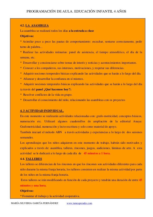 PROGRAMACIÓN DE AULA. EDUCACIÓN INFANTIL 4 AÑOS MARÍA SILVERIA GARCÍA FERNÁNDEZ www.tumeaprendes.com 4.2. LA ASAMBLEA La a...