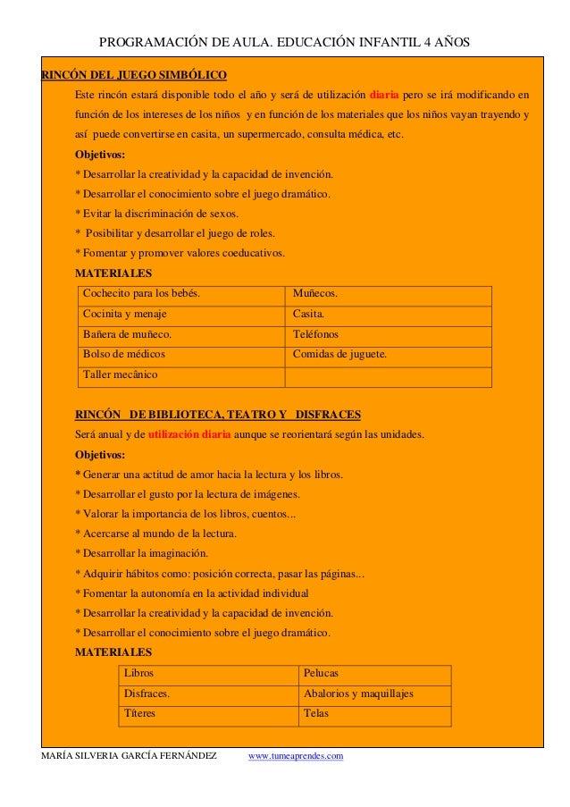 PROGRAMACIÓN DE AULA. EDUCACIÓN INFANTIL 4 AÑOS MARÍA SILVERIA GARCÍA FERNÁNDEZ www.tumeaprendes.com RINCÓN DEL JUEGO SIMB...