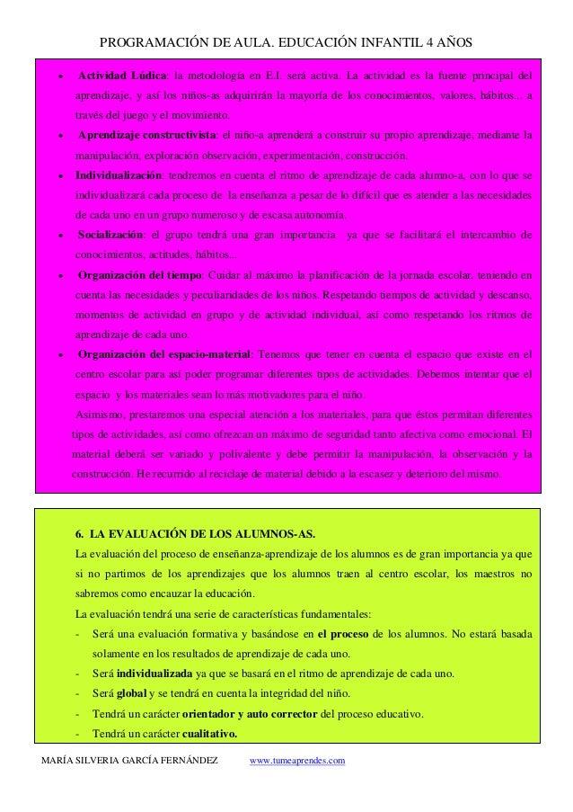 PROGRAMACIÓN DE AULA. EDUCACIÓN INFANTIL 4 AÑOS MARÍA SILVERIA GARCÍA FERNÁNDEZ www.tumeaprendes.com • Actividad Lúdica: l...
