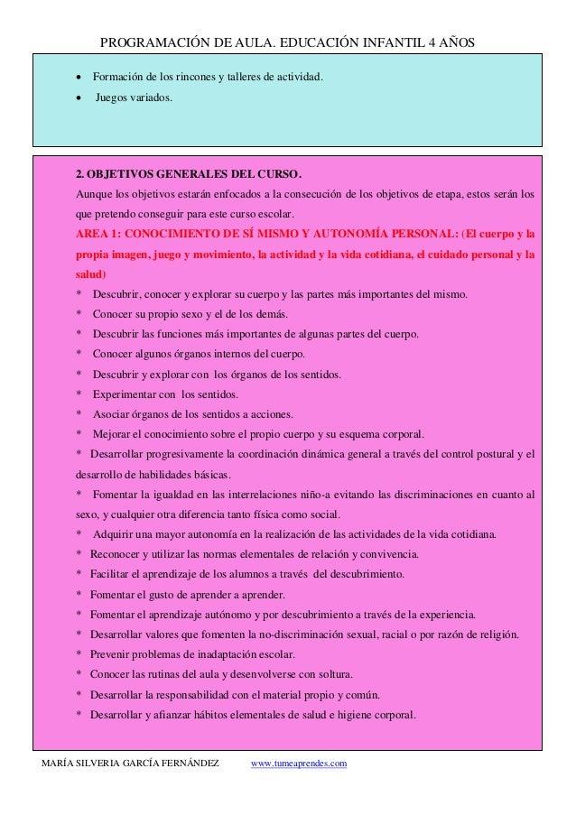 PROGRAMACIÓN DE AULA. EDUCACIÓN INFANTIL 4 AÑOS MARÍA SILVERIA GARCÍA FERNÁNDEZ www.tumeaprendes.com • Formación de los ri...