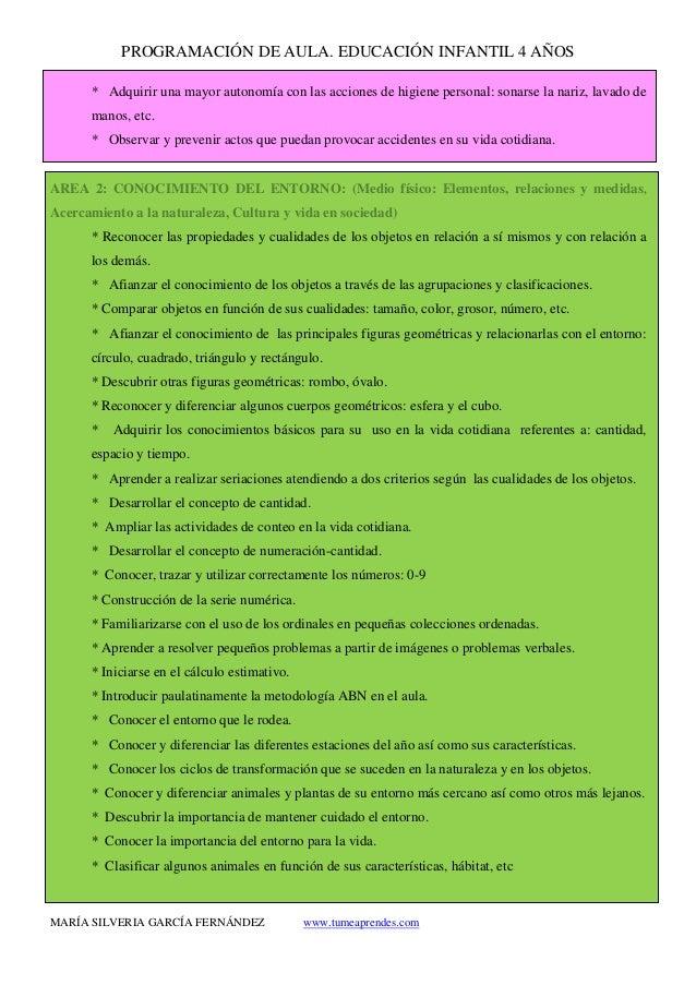 PROGRAMACIÓN DE AULA. EDUCACIÓN INFANTIL 4 AÑOS MARÍA SILVERIA GARCÍA FERNÁNDEZ www.tumeaprendes.com * Adquirir una mayor ...