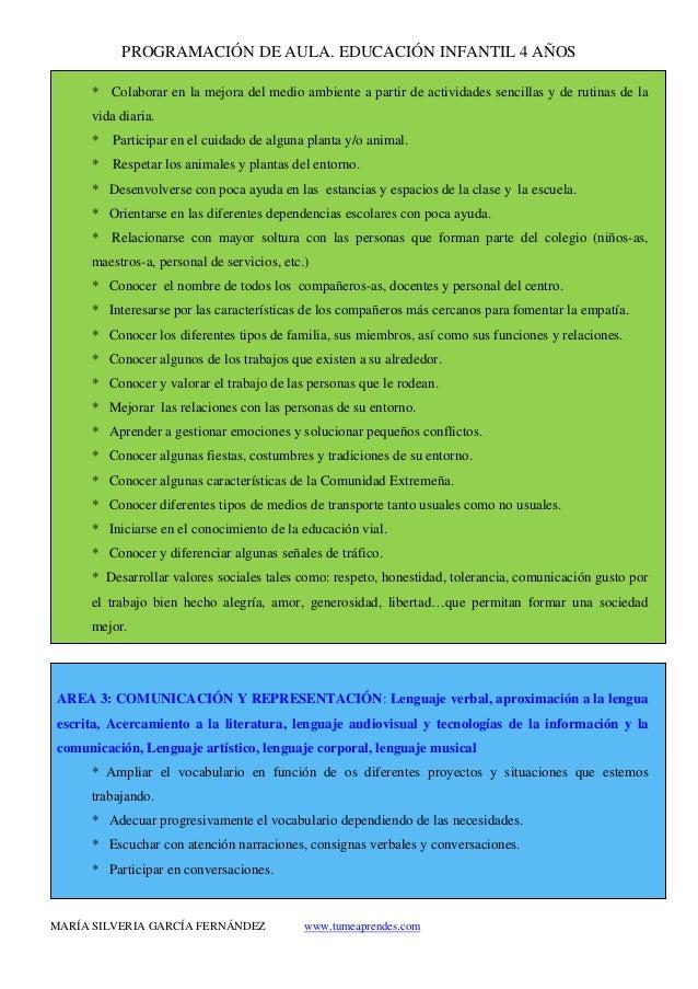 PROGRAMACIÓN DE AULA. EDUCACIÓN INFANTIL 4 AÑOS MARÍA SILVERIA GARCÍA FERNÁNDEZ www.tumeaprendes.com * Colaborar en la mej...