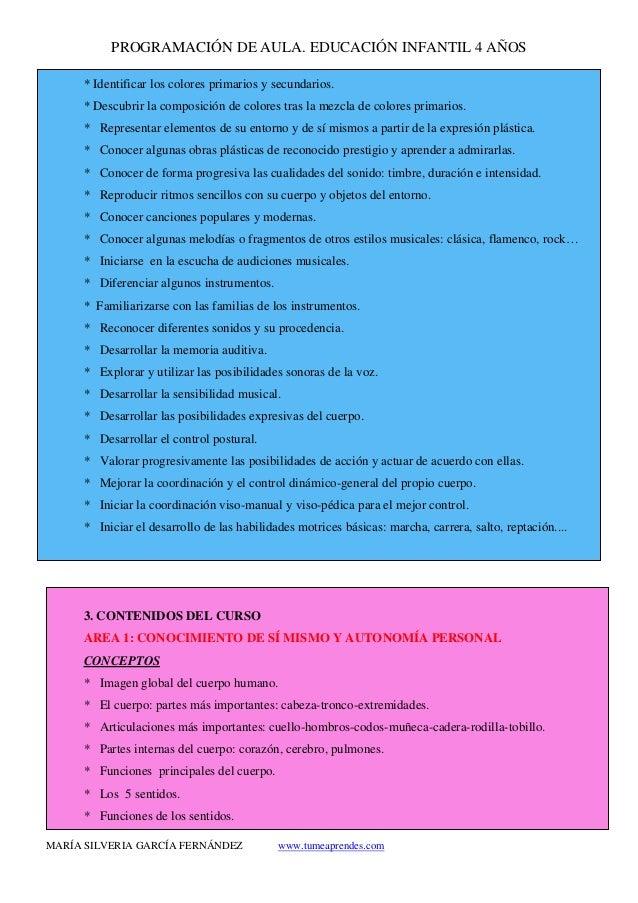 PROGRAMACIÓN DE AULA. EDUCACIÓN INFANTIL 4 AÑOS MARÍA SILVERIA GARCÍA FERNÁNDEZ www.tumeaprendes.com * Identificar los col...